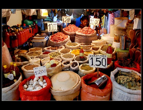 Spices and dried shrimp for sale at the Feira de São Joaquim in Salvador. via