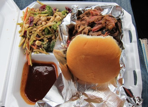Chester's Pulled Pork sandwich and Broccoli slaw