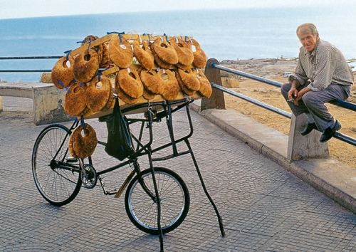 A mobile bread vendor in Beirut, Lebanon