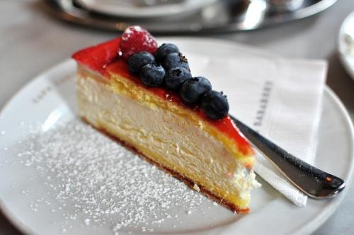 Topfentorte quark cheese cake with seasonal fruit at Cafe Sabarsky