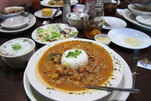 Crawfish Etouffee and fixins at The Cabin Restaurant