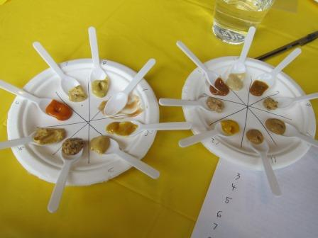 """I took spoon-size samples of each entry to facilitate my judging. Here I've already finished tasting #1, """"Sweet-Hot."""""""