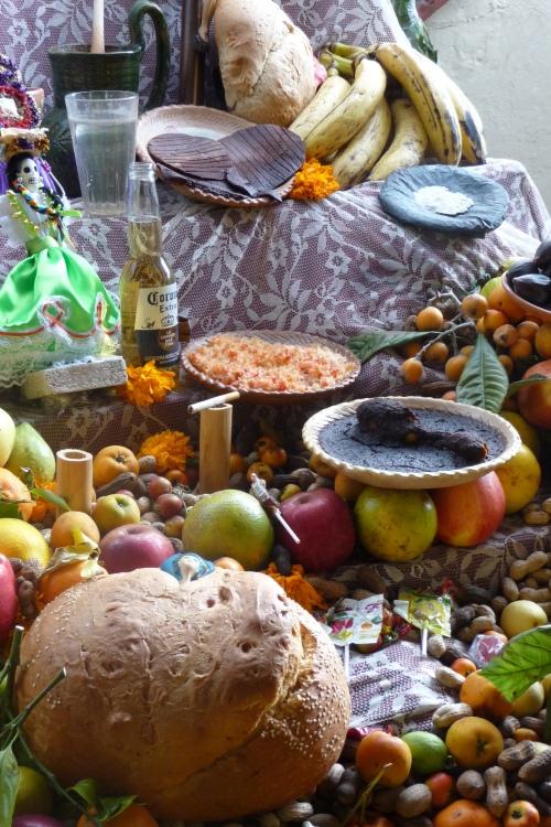 Food on a Dia de Los Muertos Altar in Oaxaca