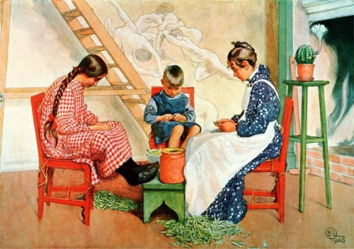 """Splitting Peas"" by Carl Larsson"